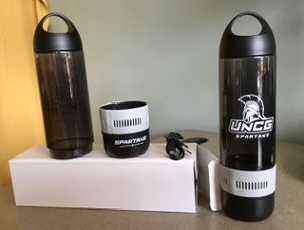 Water Bottle (16 Oz.)  with Detachable Wireless Bluetooth Speaker Base (Gift-boxed). Charcoal with White Spartan Lockup Logo on Bottle and Spartans + G-Spear on Speaker.